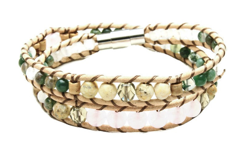 Rose Quartz Collection - Double Wrap Bracelet - Woven Stone Co.