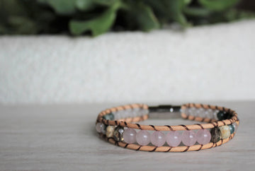 Rose Quartz Collection - Single Wrap Bracelet - Woven Stone Co.