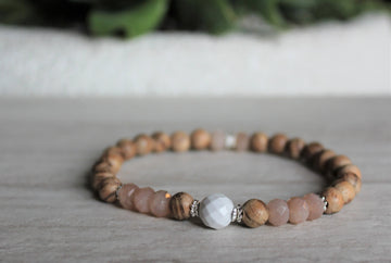 Wood Stacker - Sunstone + Howlite - Woven Stone Co.