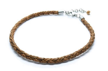 Tan Leather Anklet - Woven Stone Co.