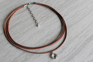 Tan Leather +  Clear Quartz Necklace - Woven Stone Co.