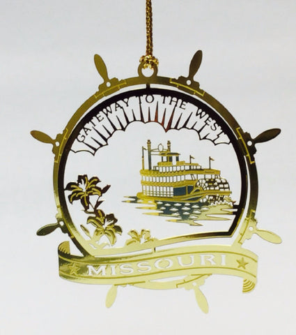 Missouri Paddle Wheel Brass Ornament