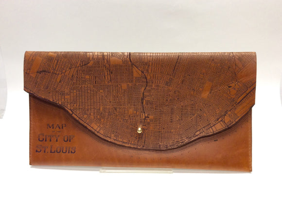 Map of St. Louis Leather Clutch