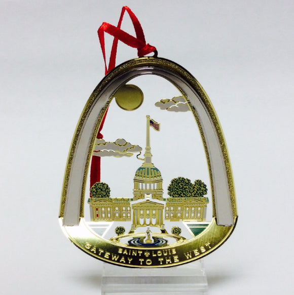 Lacquered Brass Gateway Arch Ornament-Old Courthouse