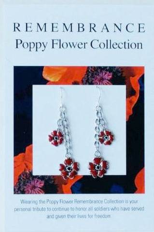Remembrance Poppy Flower Earrings