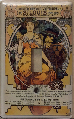 Switchplate featuring Alphonse Mucha's 1904 World's Fair Exposition Poster