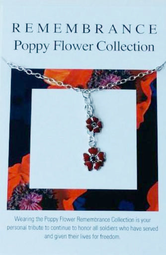 Remembrance Poppy Flower Necklace