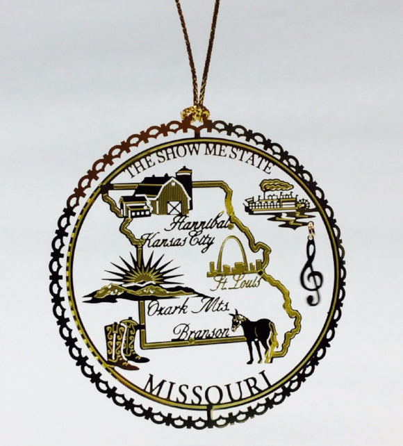 Show Me State Brass Ornament