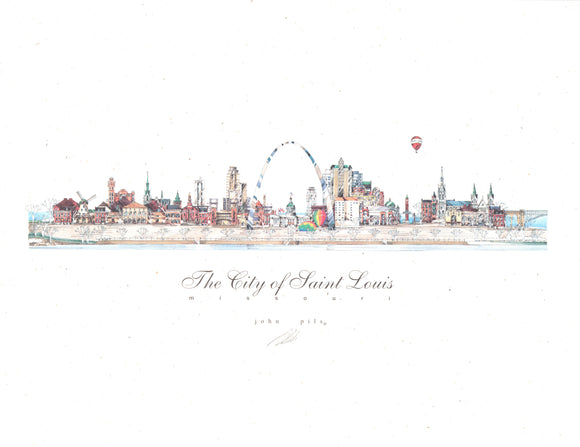 City of St. Louis Skyline Print by John Pils