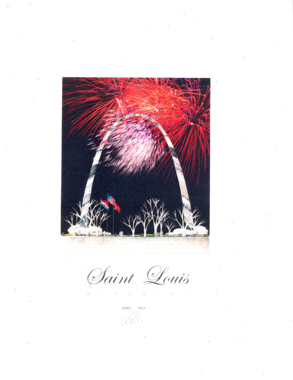 Arch and Fireworks Print by John Pils