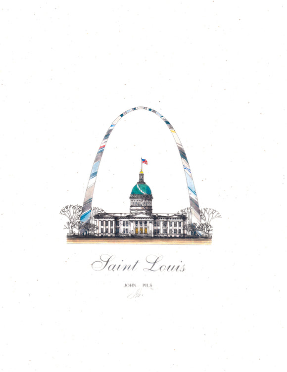 Arch and Courthouse Print by John Pils