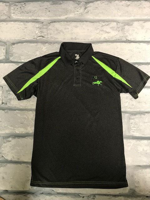 AQHA Racing Carbon Heather Grey and Lime Fusion sport Polo