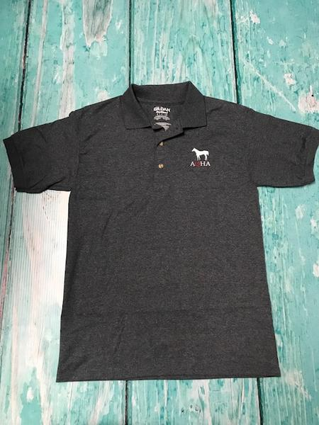 Heather Grey Polo Standing Horse and AQHA