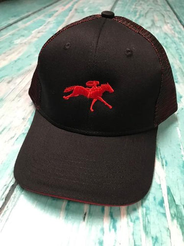 AQHA Black and Shock red hat Racing