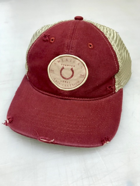 AQHA Horseshoe Circle Maroon and Tan Mesh Cap