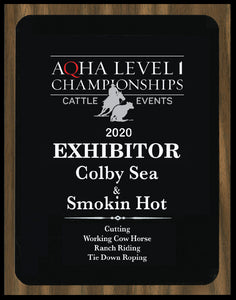 AQHA Cattle Level 1 Exhibitor Plaque (R)