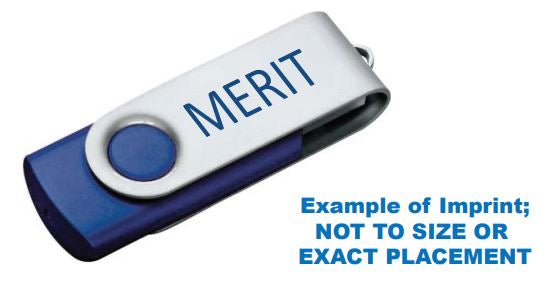 Merit 8GB Flash Drive in Blue with Blue logo