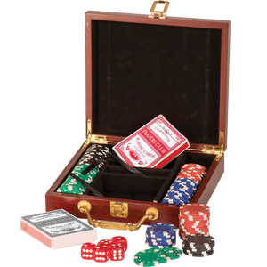 Rosewood Finish 100 Chip Game Set