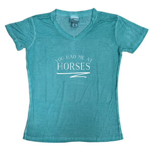 White You Had Me at Horse Squiggle Spearmint V-Neck Tee
