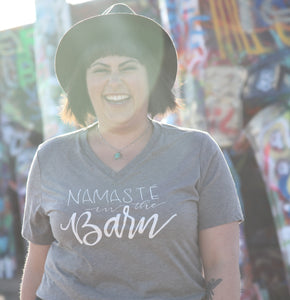 Grey V-Neck Namaste in Barn
