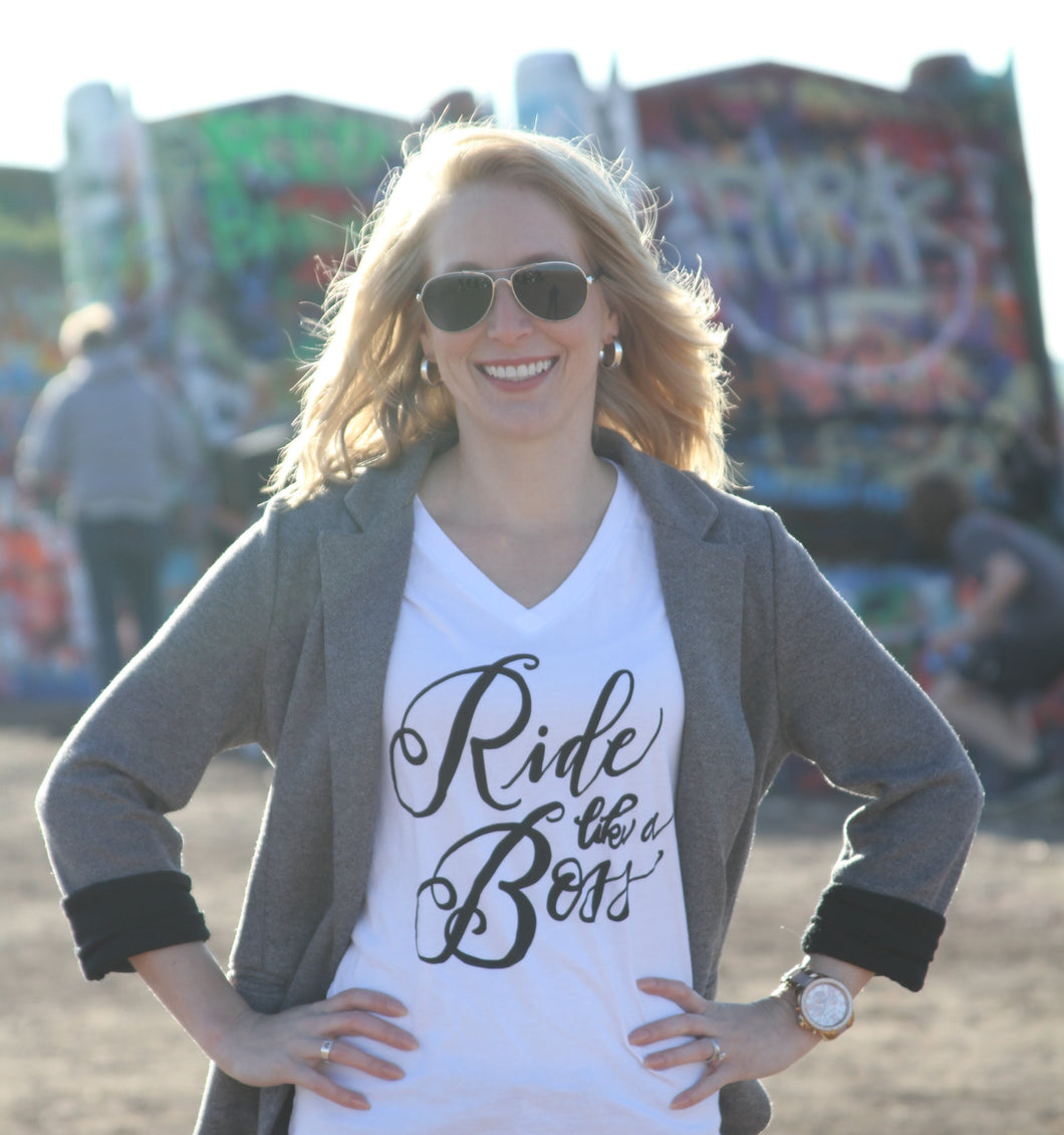 White V-Neck Ride Like A Boss Tee