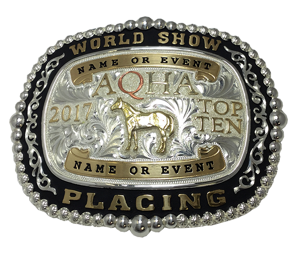 Premium AQHA World Show Top 5 & Top 10 Buckle