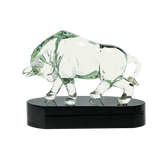 Clear Art Glass Bull