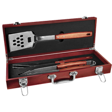 Load image into Gallery viewer, 3 Piece BBQ set in Rosewood Finish Case