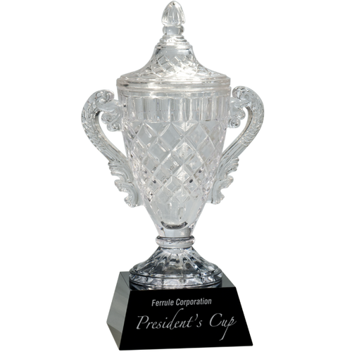Crystal Cup on Black Pedestal Base Award