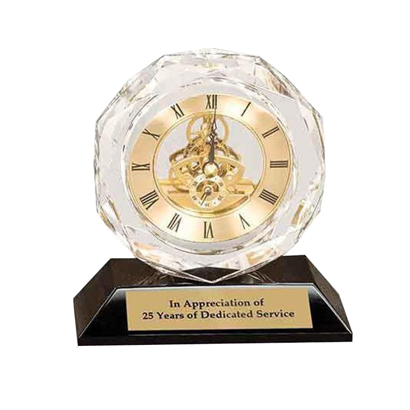 "5 3/4"" Clear Crystal Clock on Black"