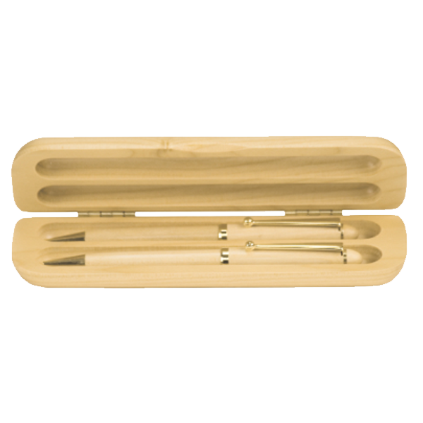 Maple Double Pen/Pencil Set with Case