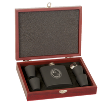 Load image into Gallery viewer, 6 oz. Matte Black Flask Set in Rosewood Box