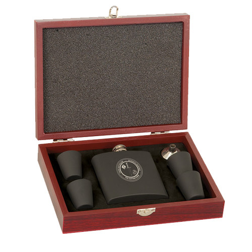 6 oz. Matte Black Flask Set in Rosewood Box