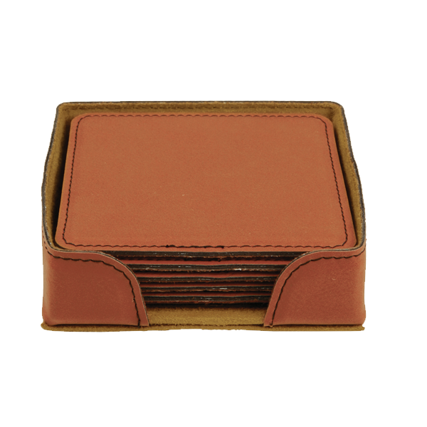 Square Leatherette Coaster Set