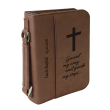 "Load image into Gallery viewer, 6 3/4"" x 9 1/4"" Leatherette Book/Bible Cover with Handle & Zipper"