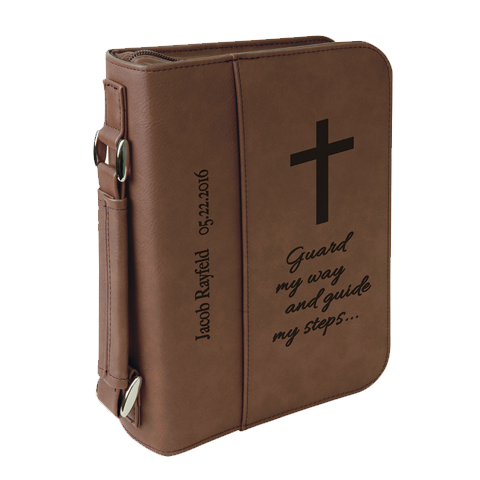 "6 3/4"" x 9 1/4"" Leatherette Book/Bible Cover with Handle & Zipper"