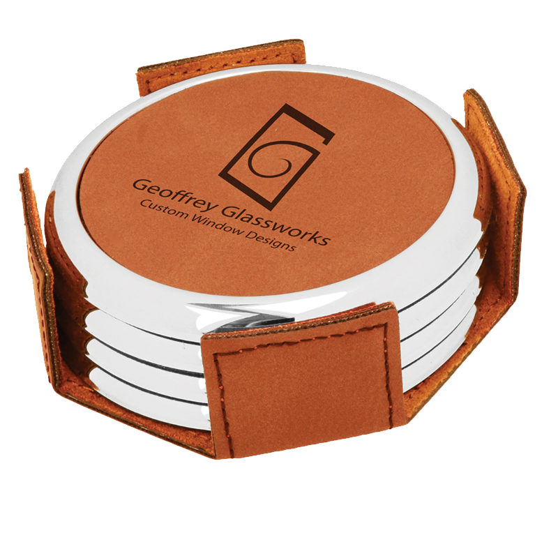 Silver Edge round Laserable Leatherette 4 Coaster Set