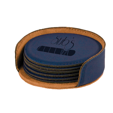 "4"" Round Laser able Leatherette 6-Coaster Set"