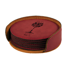 "Load image into Gallery viewer, 4"" Round Laser able Leatherette 6-Coaster Set"