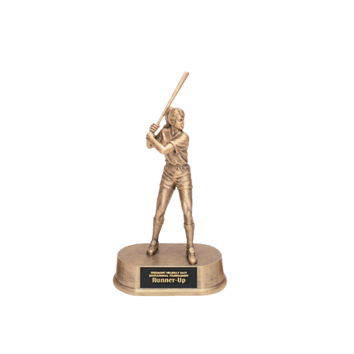 "9 1/4"" Antique Gold Female Softball trophy"