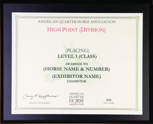 AQHA Level 1 Year End High Point Plaque (R)