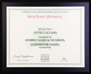 AQHA Level 2 Year End High Point Plaque (R)