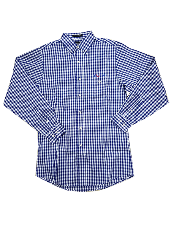 White and Marine Blue Checked Button Down