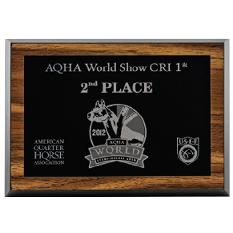 "6.5"" x 8.5"" Metal Plate on a Walnut Plaque w/ black edges"