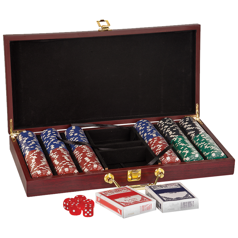Rosewood Finish 300 Chip poker Set