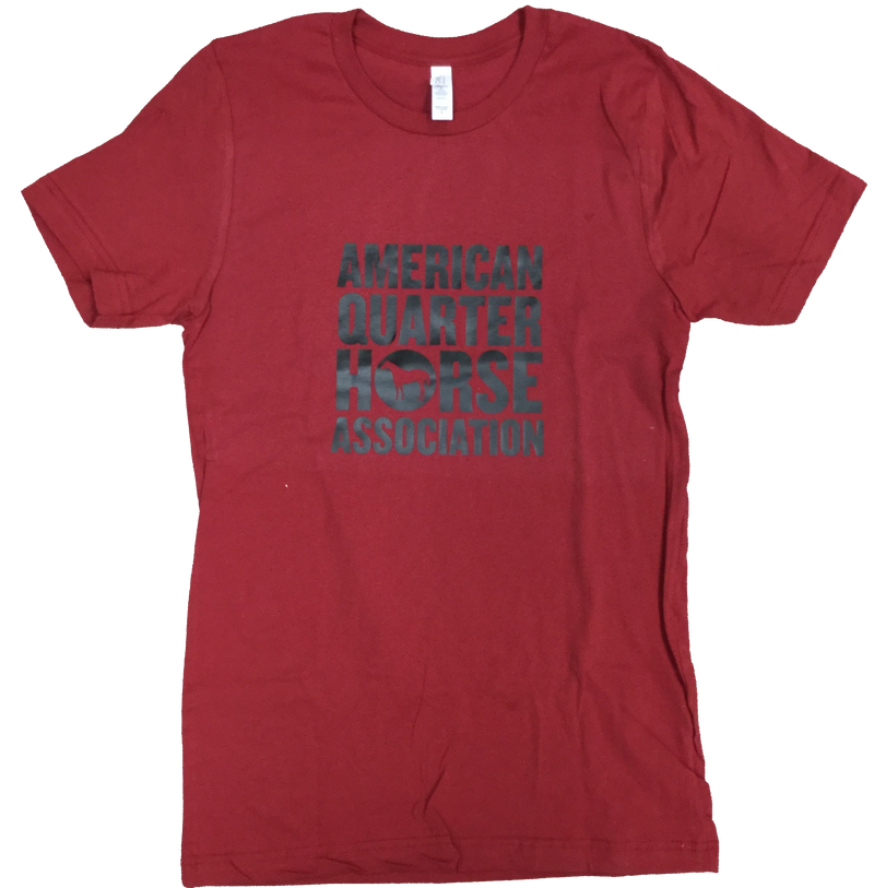 Black Block Stacked AQHA Canvas Red Tee