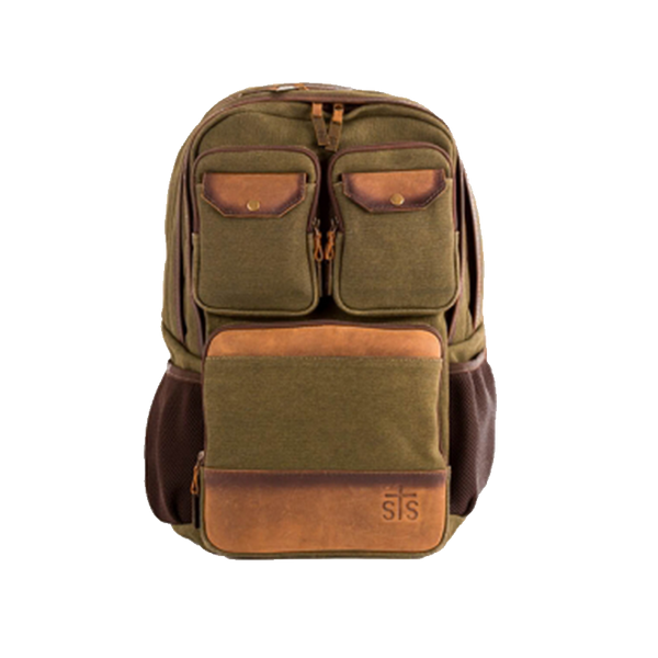Military Green Canvas Backpack Leather Trim