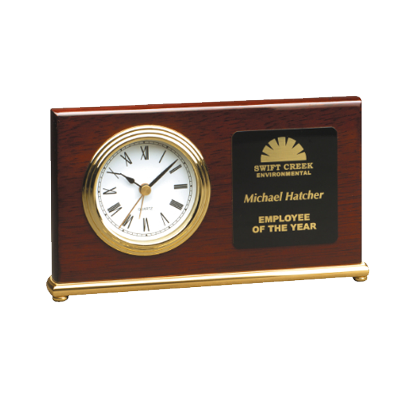 "7 1/2"" x 4"" Rosewood Piano Finish Horizontal Desk Clock"