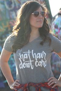 Grey V-Neck Hair Hat Don't Care Tee