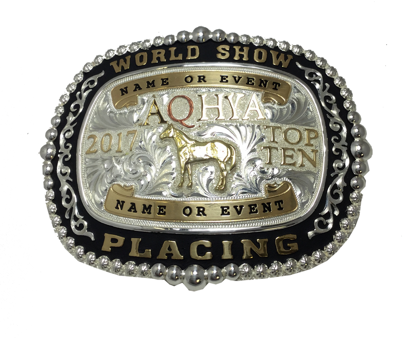 Premium AQHA Youth World Show Top 5 & Top 10 Buckle